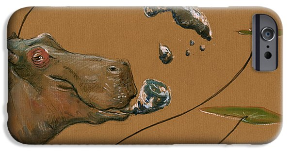 Hippo Bubbles IPhone 6s Case by Juan  Bosco