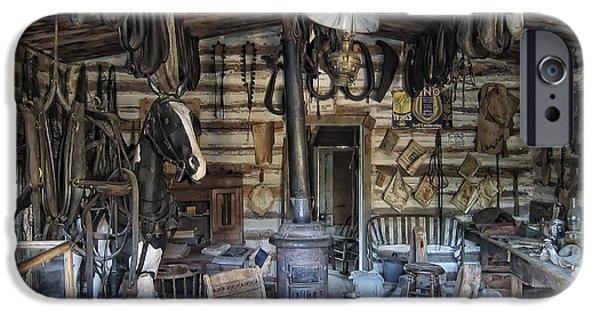 Historic Saddlery Shop - Montana Territory IPhone Case by Daniel Hagerman