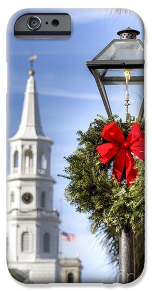 Holiday Wreath St Michaels Church Charleston Sc IPhone Case by Dustin K Ryan