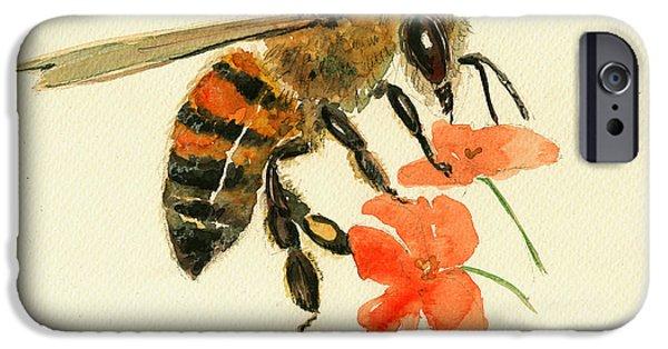 Honey Bee Watercolor Painting IPhone 6s Case by Juan  Bosco