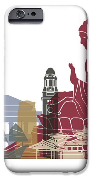 Hong Kong Skyline Poster IPhone Case by Pablo Romero