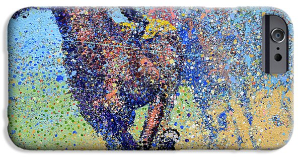Horse Race On Blue IPhone Case by Michael Glass