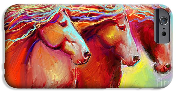 Horse Stampede Painting IPhone Case by Svetlana Novikova