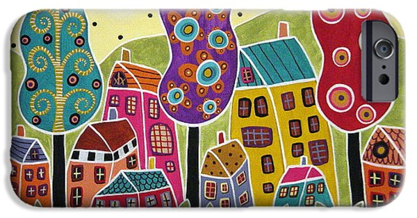Houses Trees Flowers IPhone Case by Karla Gerard