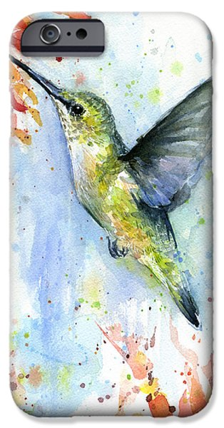 Hummingbird And Red Flower Watercolor IPhone 6s Case by Olga Shvartsur