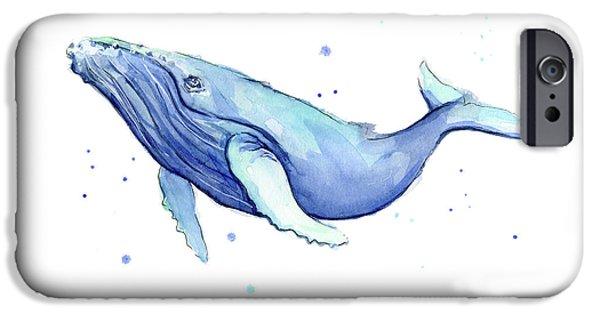 Humpback Whale Watercolor IPhone Case by Olga Shvartsur