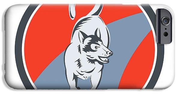 Huskie Sled Dog Circle Retro IPhone Case by Aloysius Patrimonio