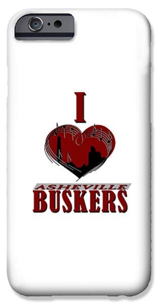 I Heart Asheville Buskers IPhone Case by John Haldane