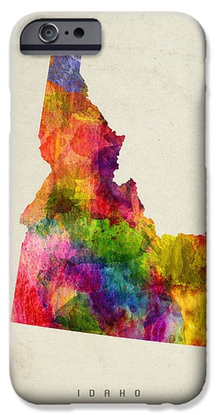 Idaho State Map 02 IPhone Case by Aged Pixel
