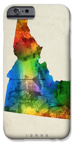 Idaho State Map 03 IPhone Case by Aged Pixel