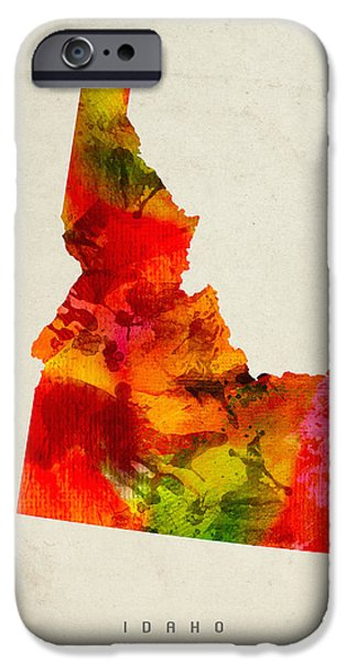 Idaho State Map 04 IPhone Case by Aged Pixel