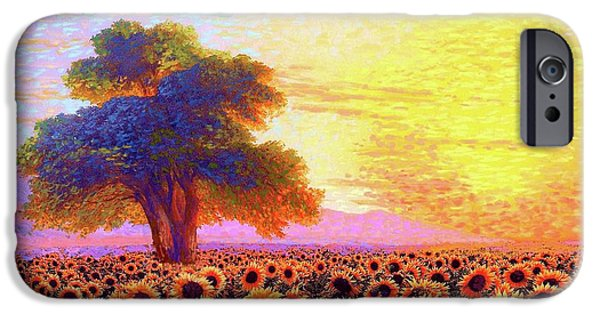 In Awe Of Sunflowers, Sunset Fields IPhone Case by Jane Small