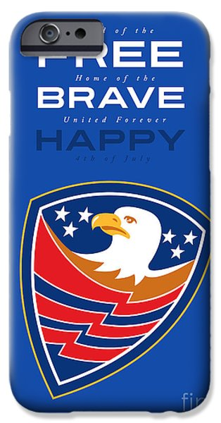 Independence Day Greeting Card American Bald Eagle Flag  IPhone Case by Aloysius Patrimonio