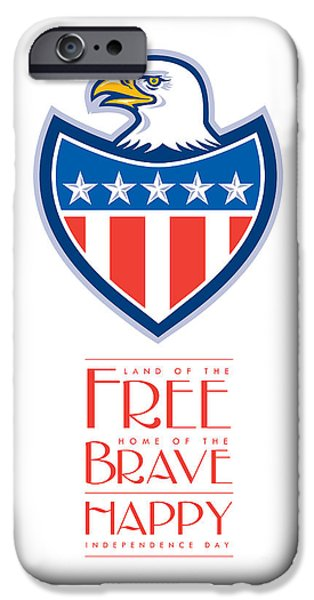 Independence Day Greeting Card-american Bald Eagle Flag Shield IPhone Case by Aloysius Patrimonio