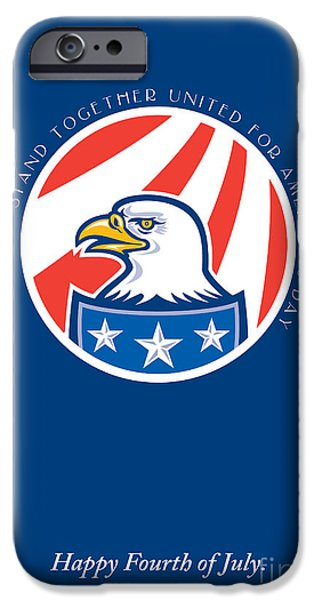 Independence Day Greeting Card-american Bald Eagle Head Side IPhone Case by Aloysius Patrimonio