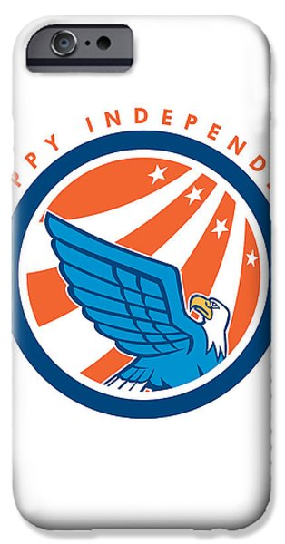 Independence Day Greeting Card-american Eagle Flying Looking Up  IPhone Case by Aloysius Patrimonio
