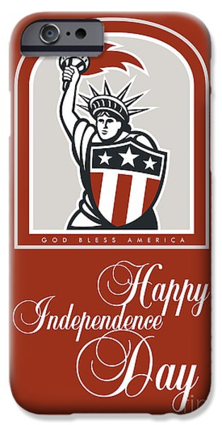 Independence Day Greeting Card-statue Of Liberty With Flaming Torch Shield IPhone Case by Aloysius Patrimonio