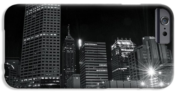 Indianapolis Downtown Black And White IPhone Case by Frozen in Time Fine Art Photography
