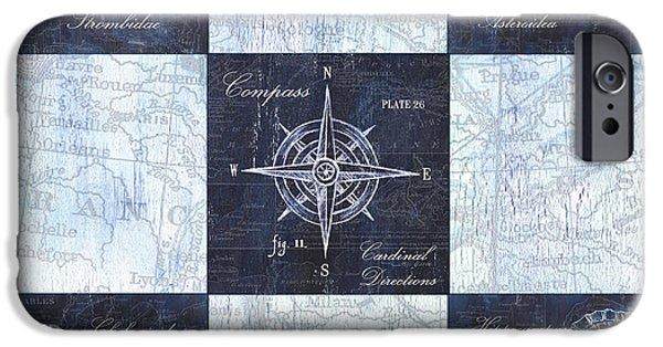 Indigo Nautical Collage IPhone Case by Debbie DeWitt