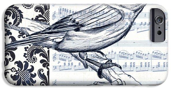 Indigo Vintage Songbird 1 IPhone Case by Debbie DeWitt