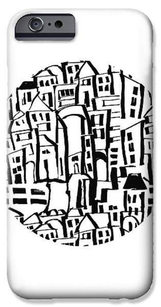 Inky Village Sketch Ball- Art By Linda Woods IPhone Case by Linda Woods