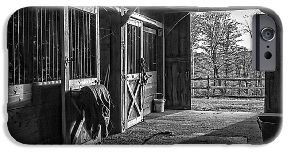 Inside The Horse Barn Black And White IPhone Case by Edward Fielding
