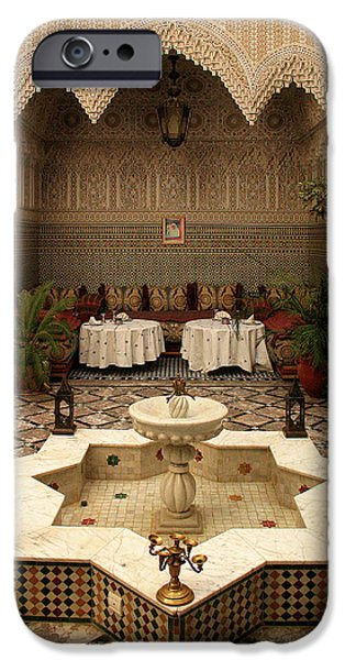 Interior Of A Traditional Riad In Fez IPhone Case by Ralph A  Ledergerber-Photography