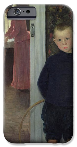 Interior With Women And A Child IPhone Case by Paul Mathey