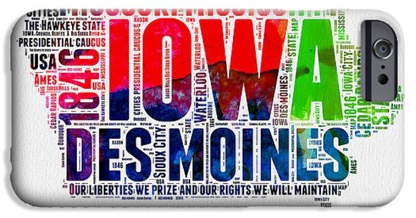Iowa Watercolor Word Cloud  IPhone Case by Naxart Studio