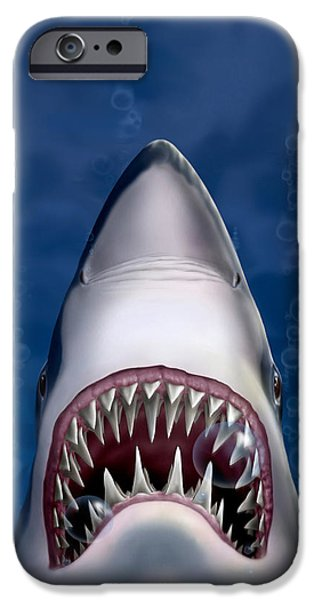 iPhone - Galaxy Case - Jaws Great White Shark Art IPhone Case by Walt Curlee
