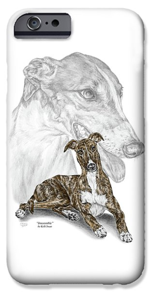 Irresistible - Greyhound Dog Print Color Tinted IPhone Case by Kelli Swan