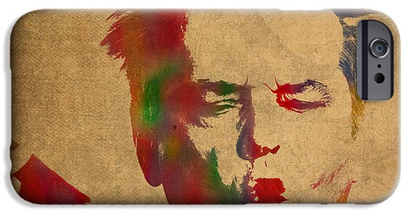 Jack Nicholson Smoking A Cigar Blowing Smoke Ring Watercolor Portrait On Old Canvas IPhone 6s Case by Design Turnpike