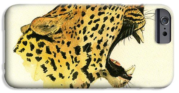 Jaguar Head Painting Watercolor IPhone Case by Juan  Bosco