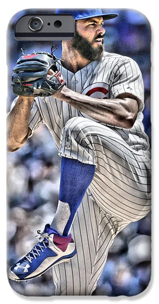 Jake Arrieta Chicago Cubs IPhone Case by Joe Hamilton