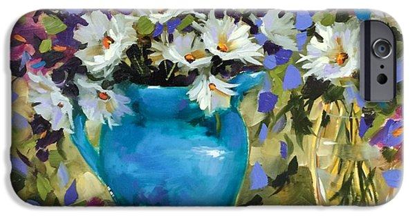 Japanese Iris And Daisies IPhone Case by Nancy Medina