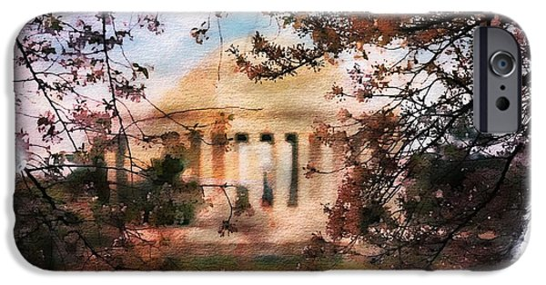 Jefferson Memorial Watercolor 1 IPhone Case by Scott Fracasso