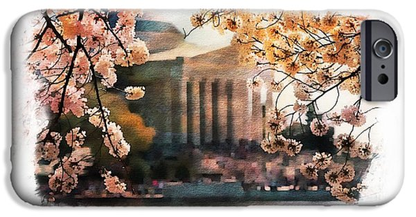 Jefferson Memorial Watercolor 2 IPhone Case by Scott Fracasso