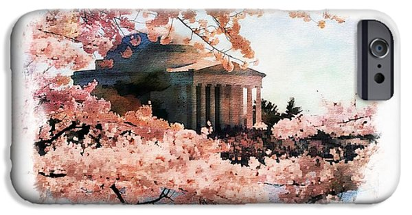 Jefferson Memorial Watercolor 3 IPhone Case by Scott Fracasso