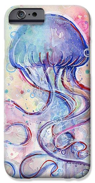 Jelly Fish Watercolor IPhone Case by Olga Shvartsur