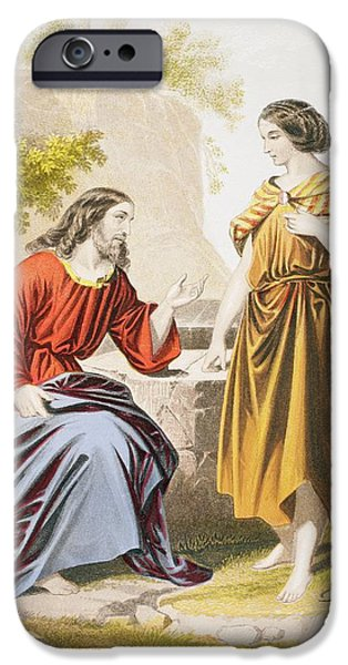 Jesus At The Well With The Woman Of IPhone Case by Vintage Design Pics