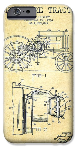 John Deere Tractor Patent Drawing From 1934 - Vintage IPhone Case by Aged Pixel