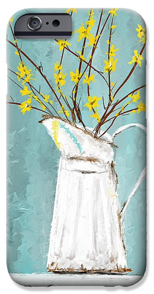 Joys Of Bloom - Forsythia Art IPhone Case by Lourry Legarde