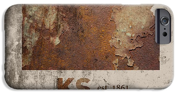 Kansas State Map Industrial Rusted Metal On Cement Wall With Founding Date Series 040 IPhone Case by Design Turnpike