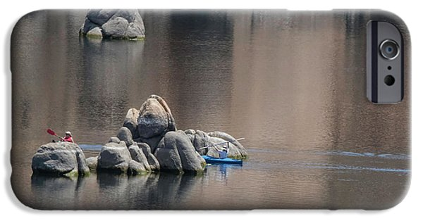 Kayaking On The Lake IPhone Case by Anne Rodkin