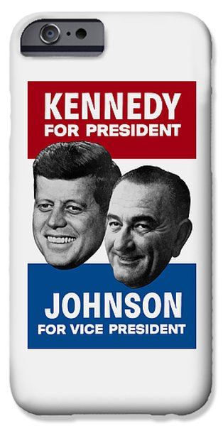 Kennedy And Johnson 1960 Election Poster IPhone Case by War Is Hell Store