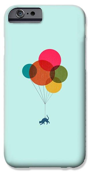 Kitten Baloon Trip IPhone Case by Illustratorial Pulse