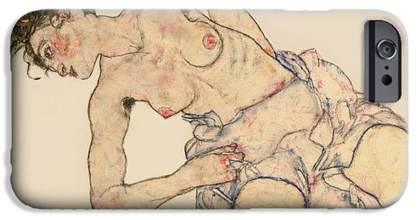 Kneider Weiblicher Halbakt IPhone Case by Egon Schiele