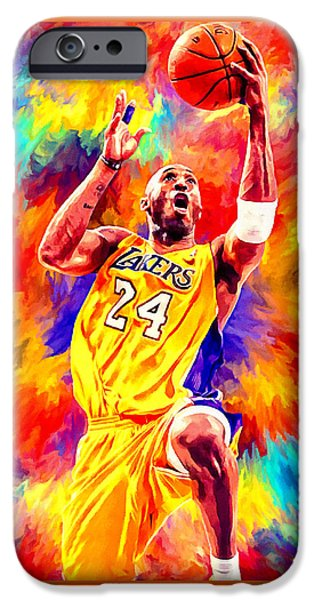 Kobe Bryant Basketball Art Portrait Painting IPhone Case by Andres Ramos