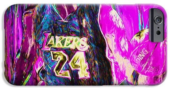 Kobe Bryant La Lakers Digital Painting 3 IPhone Case by David Haskett