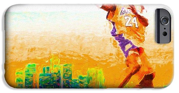 Kobe Bryant Los Angeles Lakers Digital Painting 1 IPhone Case by David Haskett